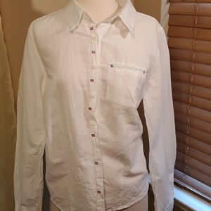 NWOT WHITE LONG SLEEVE COTTON BLOUSE